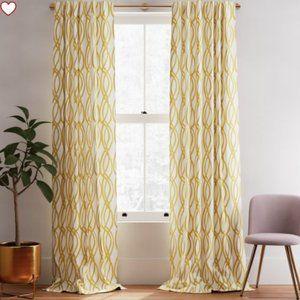 West Elm Cotton Curtains (2)& 1 Accent Cover